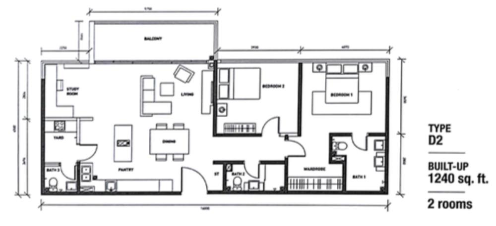 Regalia @ Jalan Sultan Ismail Type D (D2) Floor Plan