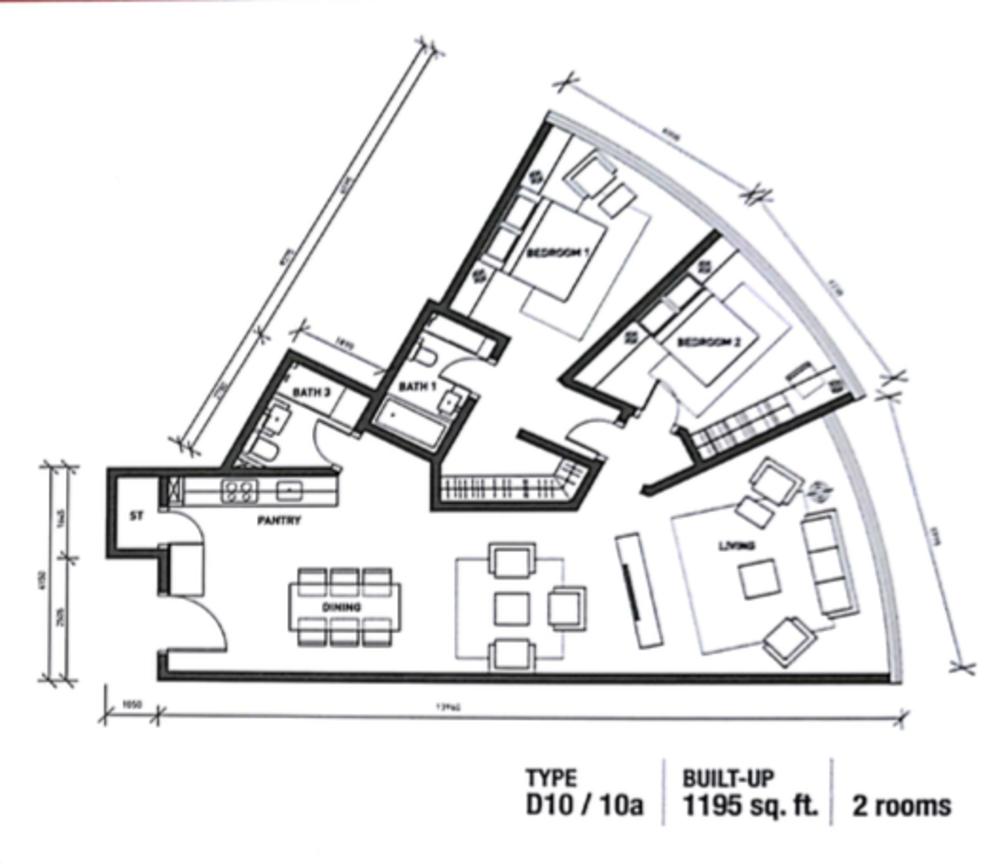 Regalia @ Jalan Sultan Ismail Type D (D10) Floor Plan