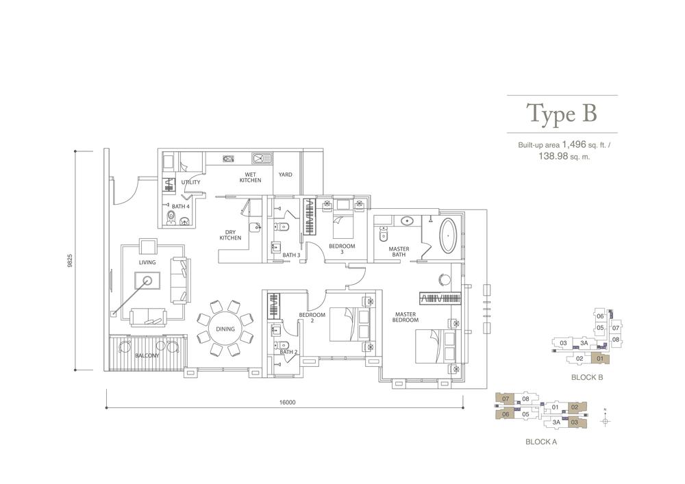 Pavilion Hilltop Type B Floor Plan