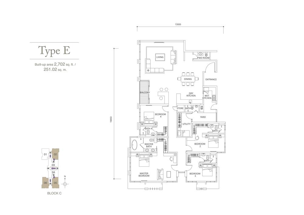 Pavilion Hilltop Type E Floor Plan
