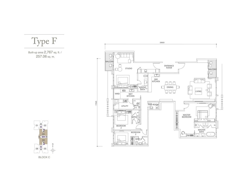 Pavilion Hilltop Type F Floor Plan