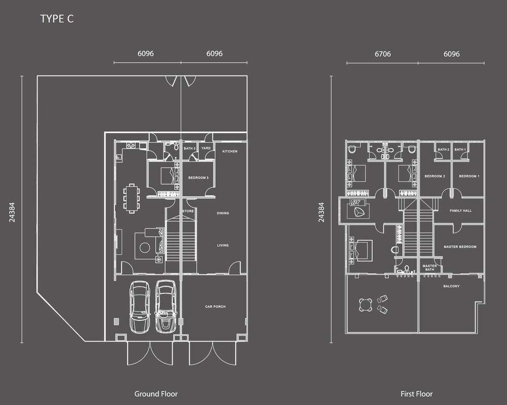 Nada Alam Nada 3 - Type C (Garden Home) Floor Plan