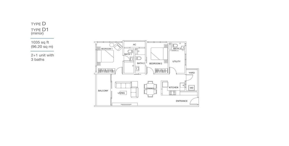 Skyville 8 Type D / D1 Floor Plan