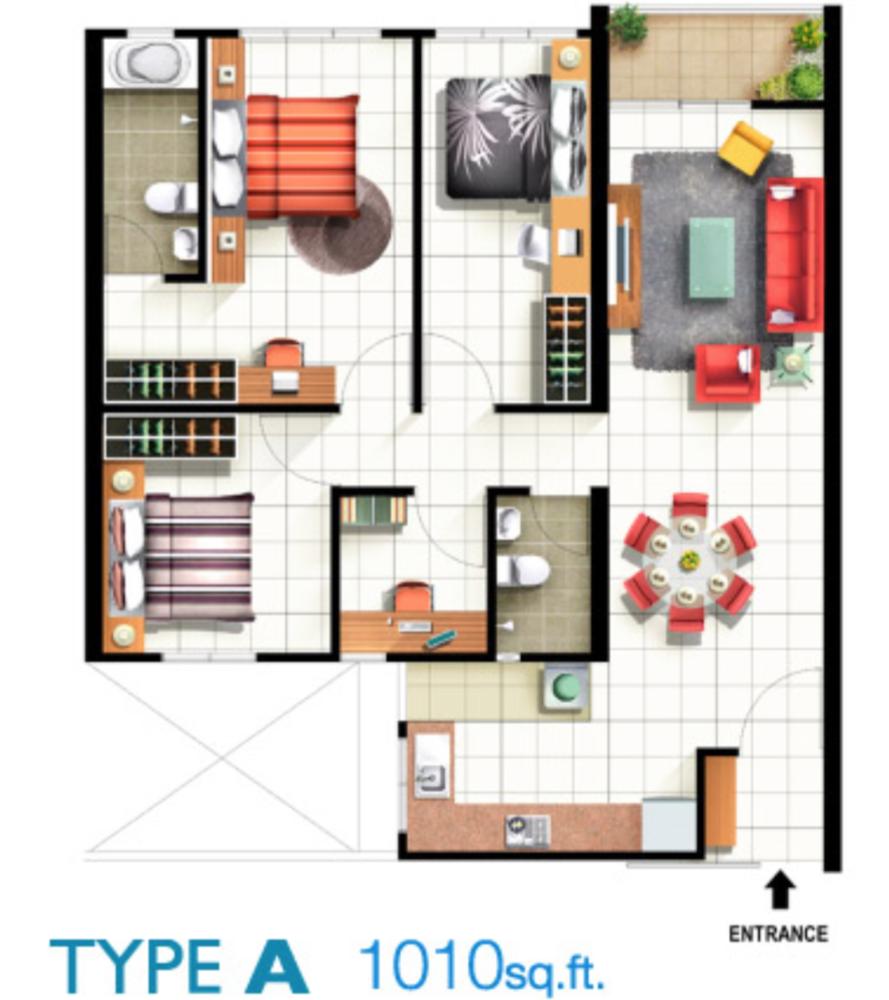 Pinang Laguna Type A Floor Plan