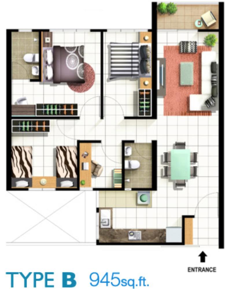 Pinang Laguna Type B Floor Plan