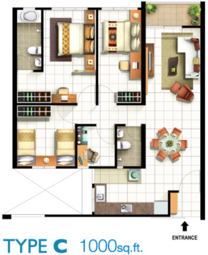 Pinang Laguna Type C Floor Plan