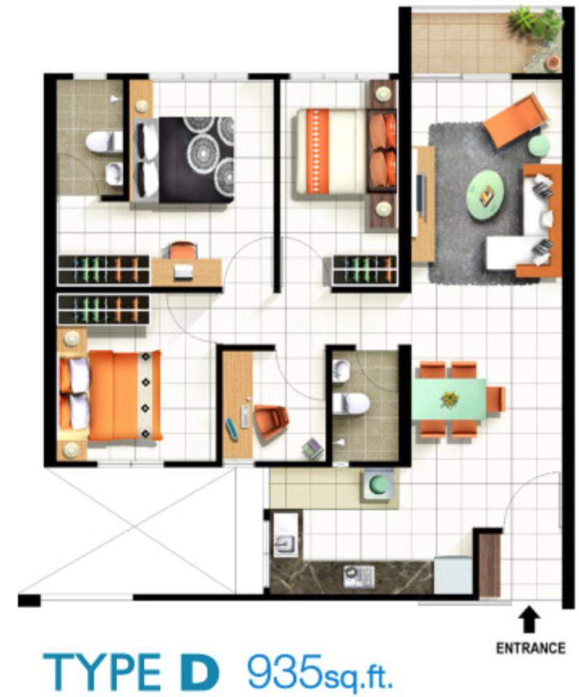 Pinang Laguna Type D Floor Plan