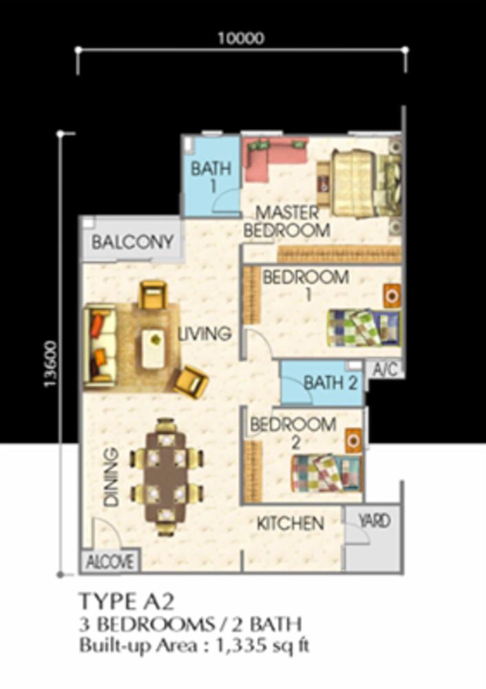 SuriaMas Suites Type A2 Floor Plan