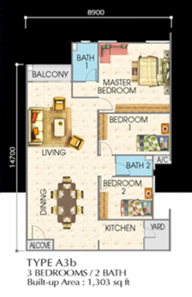 SuriaMas Suites Type A3b Floor Plan