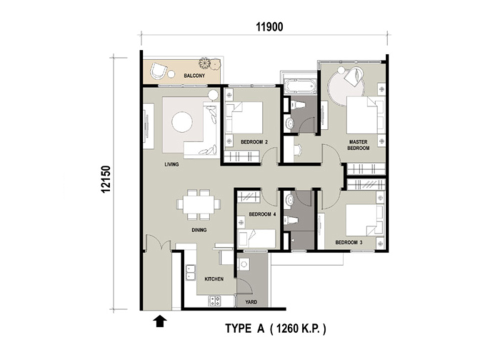 Marinox Sky Villas Type A Floor Plan