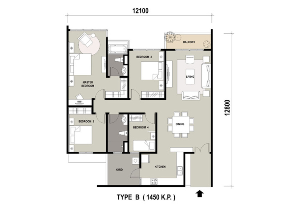 Marinox Sky Villas Type B Floor Plan