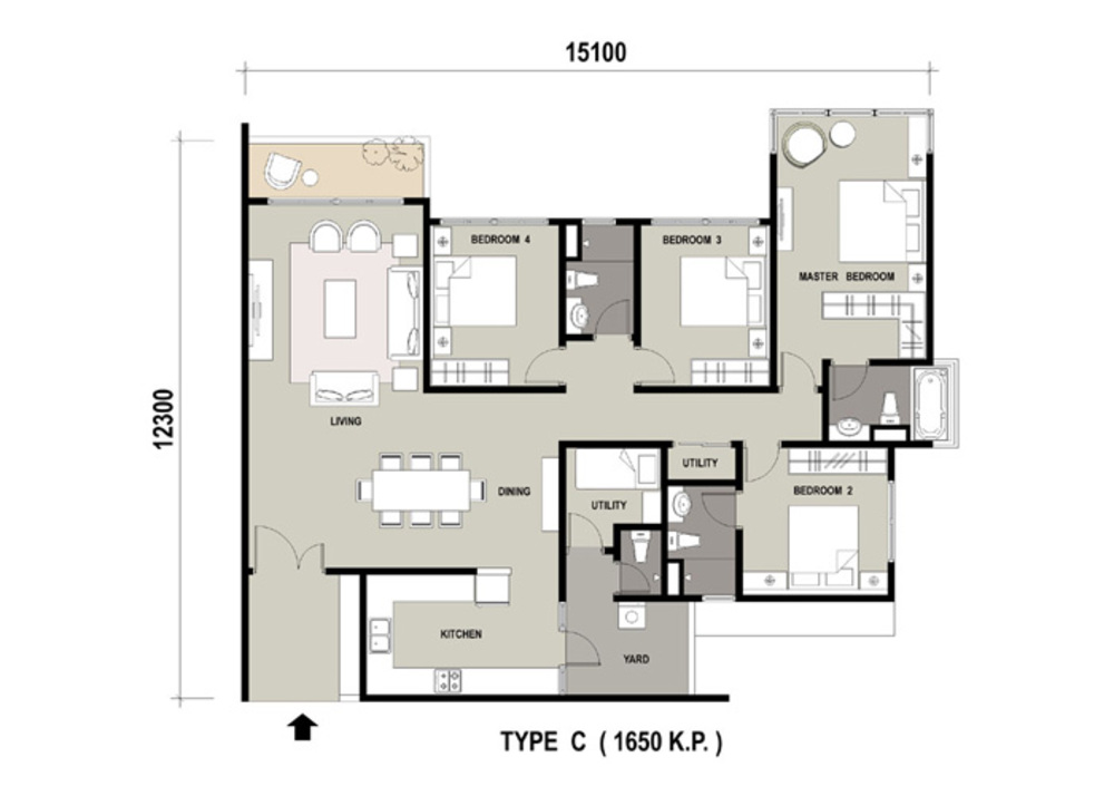 Marinox Sky Villas Type C Floor Plan