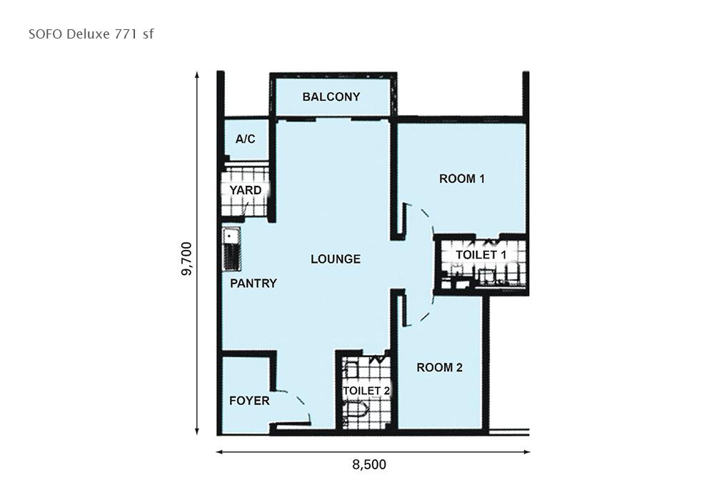 D'Pristine Deluxe Type Floor Plan