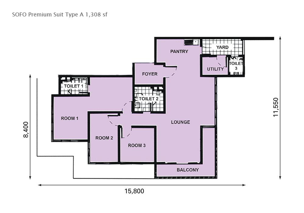 D'Pristine Premium Suite Type A Floor Plan