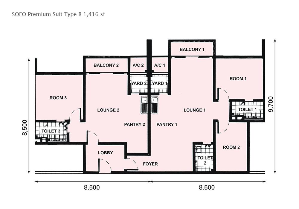 D'Pristine Premium Suite Type B Floor Plan