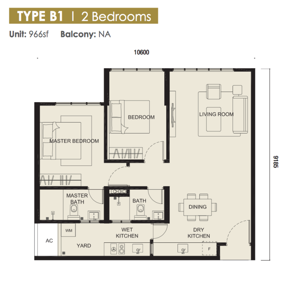 The Meridin @ Medini Block B Type B1 Floor Plan