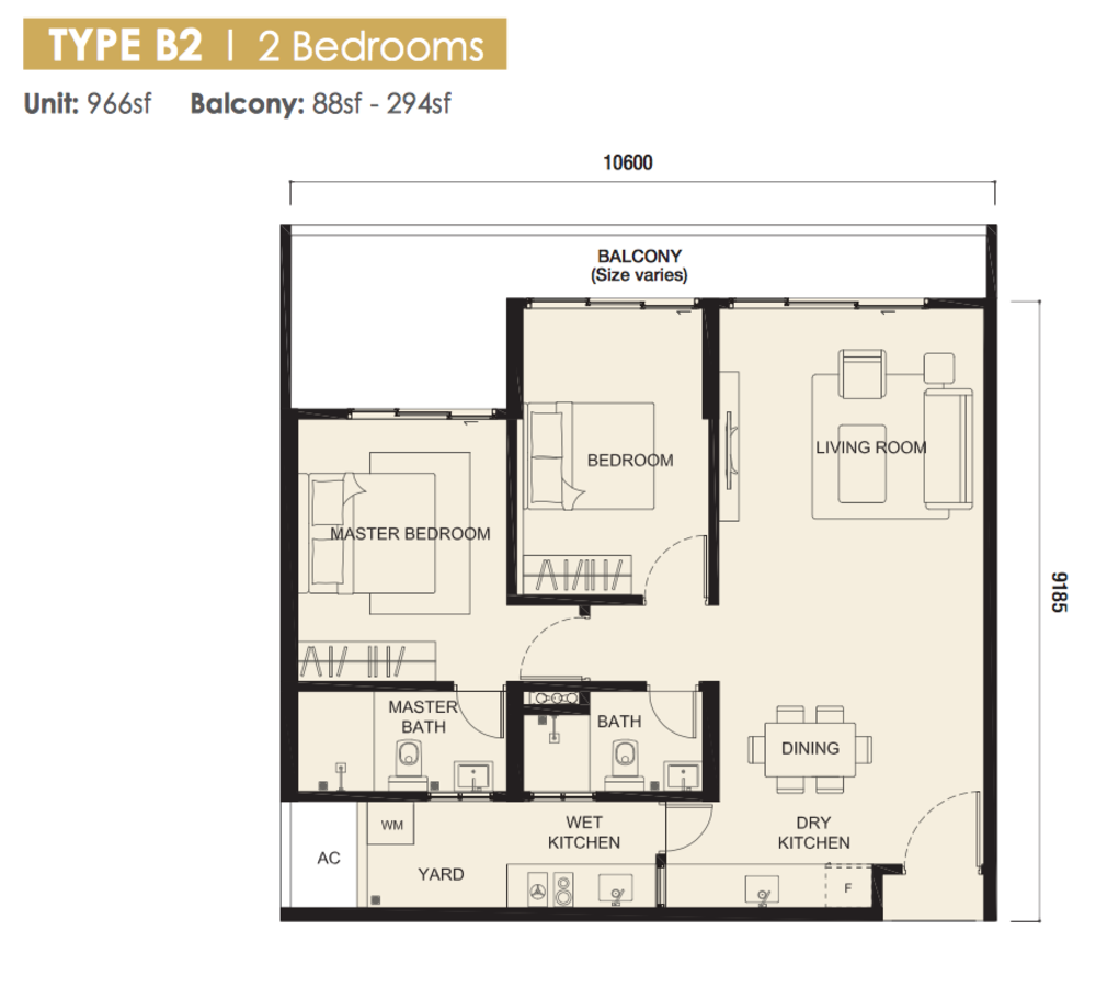 The Meridin @ Medini Block B Type B2 Floor Plan