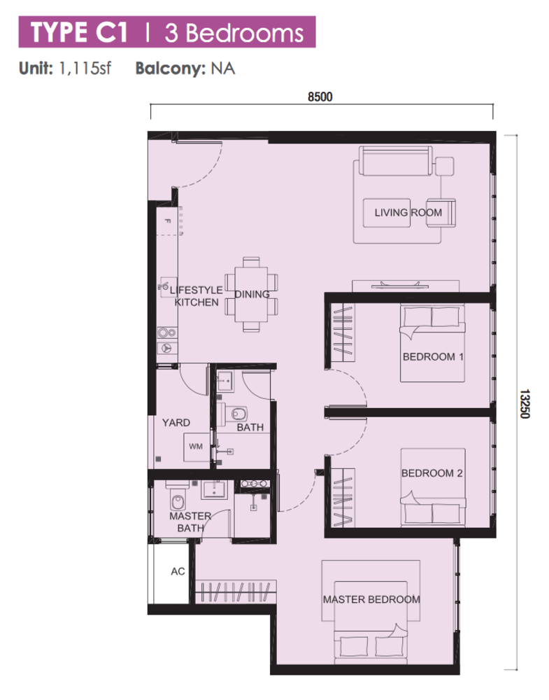 The Meridin @ Medini Block B Type C1 Floor Plan