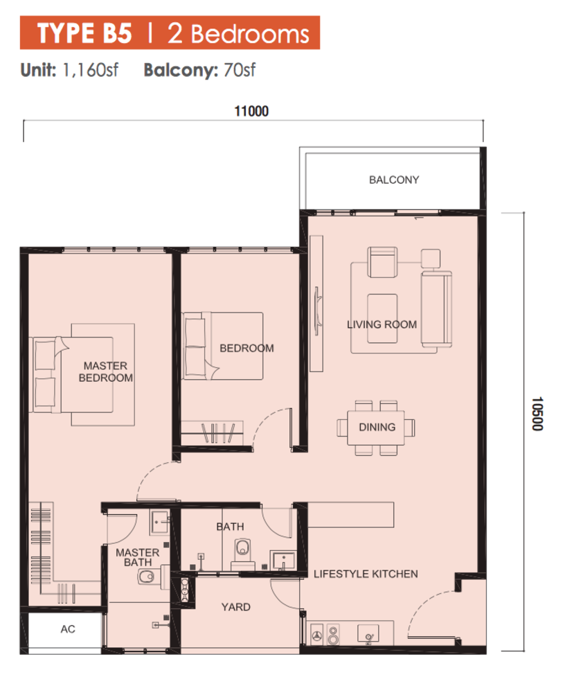 The Meridin @ Medini Block B Type B5 Floor Plan