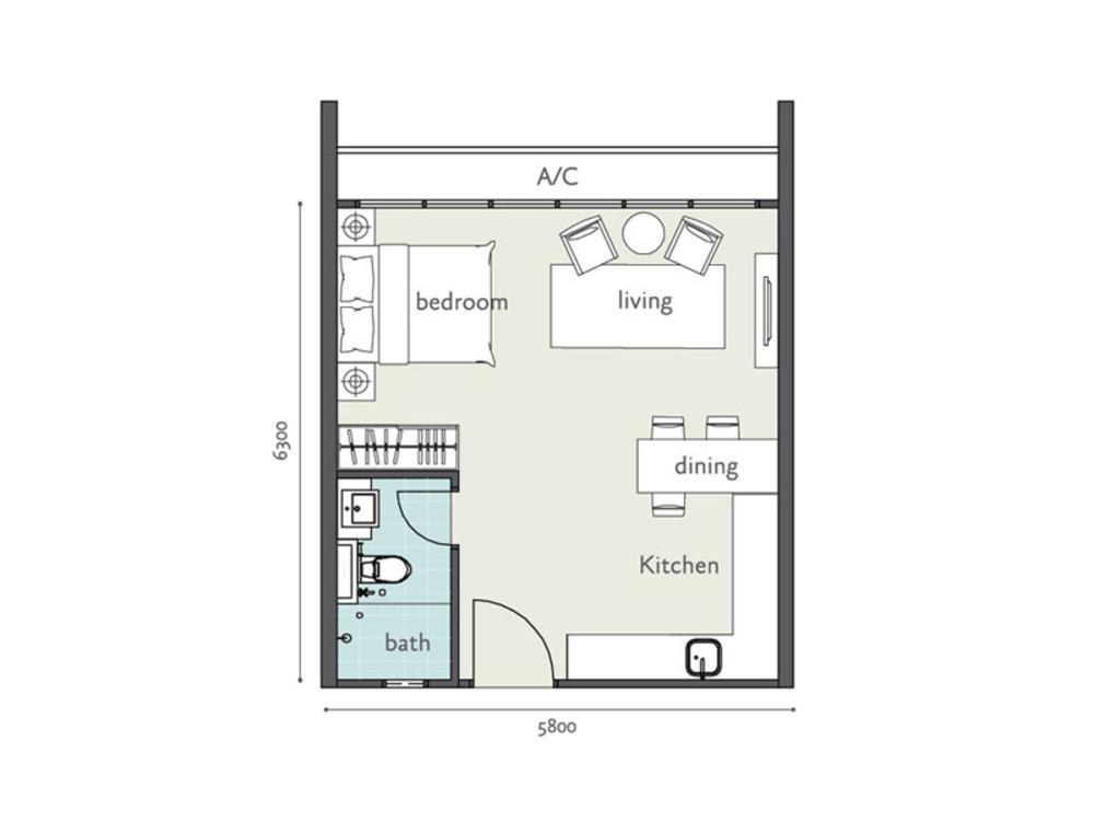 Tropicana Bay Residences Type A1 Floor Plan