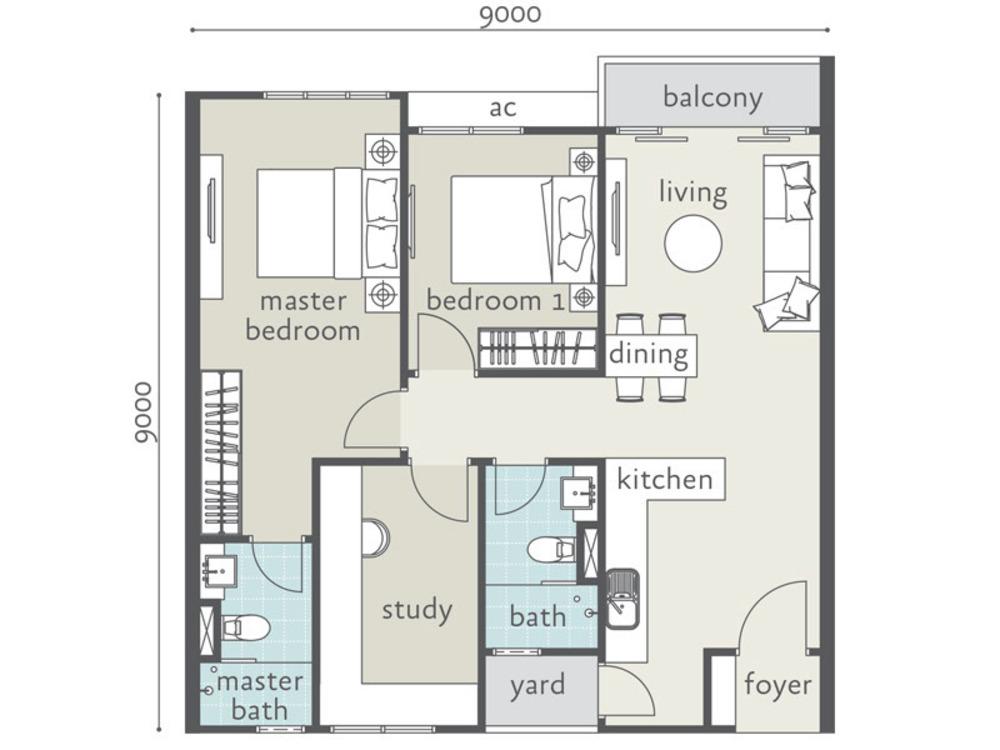 Tropicana Bay Residences Type C Floor Plan