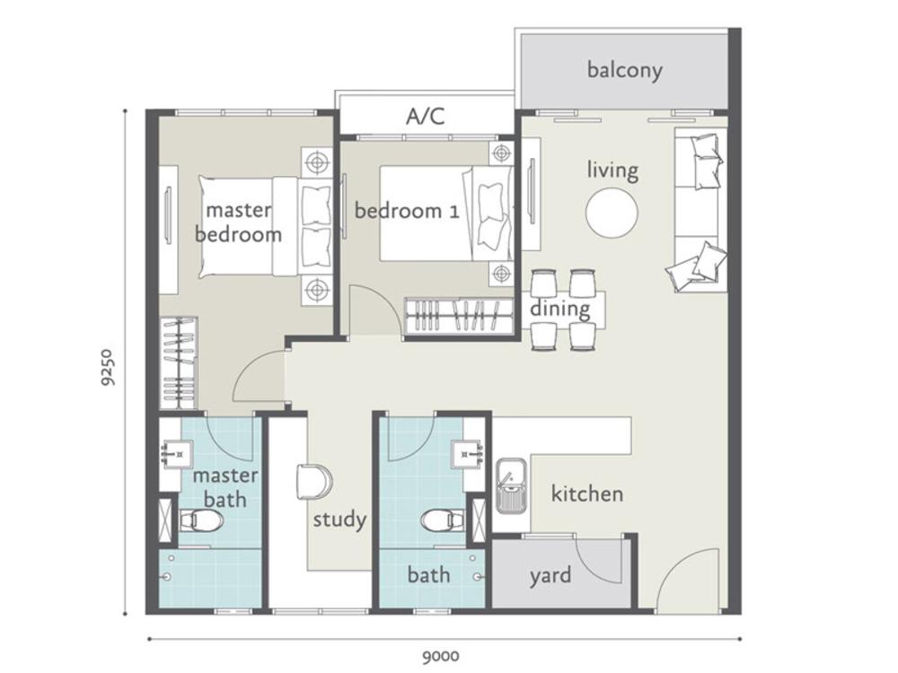 Tropicana Bay Residences Type C1 Floor Plan