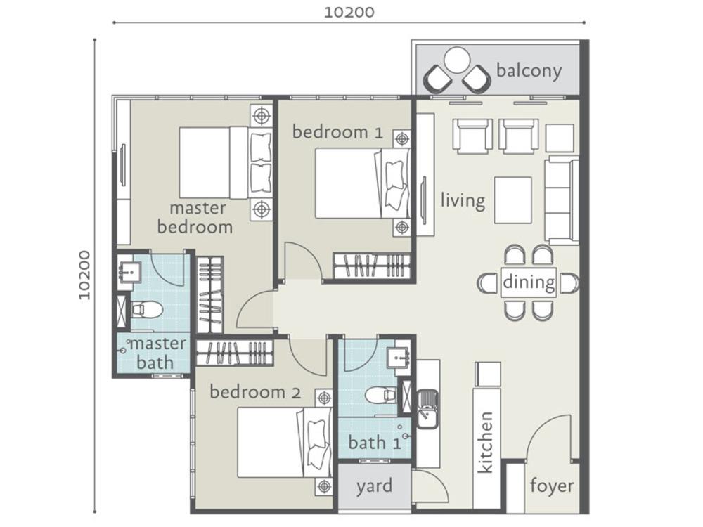 Tropicana Bay Residences Type D2 Floor Plan