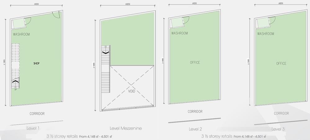 Setia Tri-Angle 3.5 Storey Retail Floor Plan