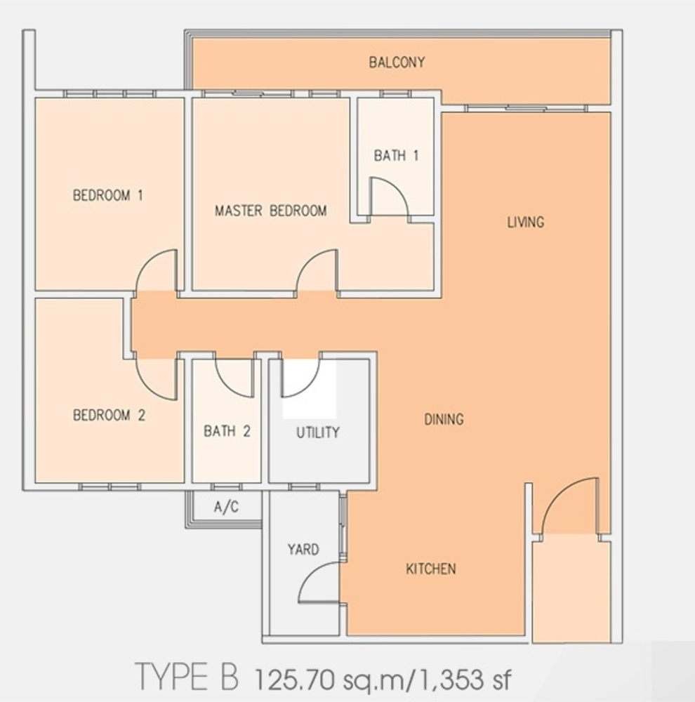 Setia Tri-Angle Condominium - Type B Floor Plan