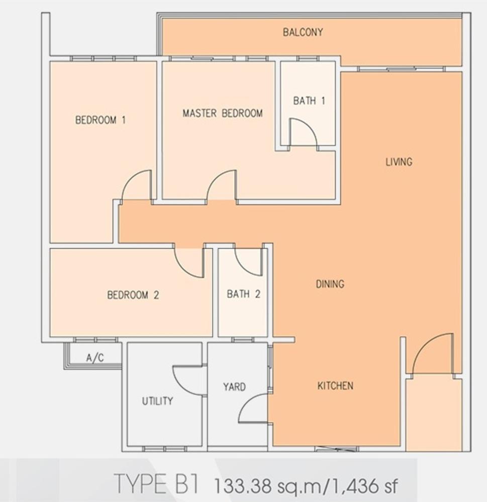 Setia Tri-Angle Condominium - Type B1 Floor Plan