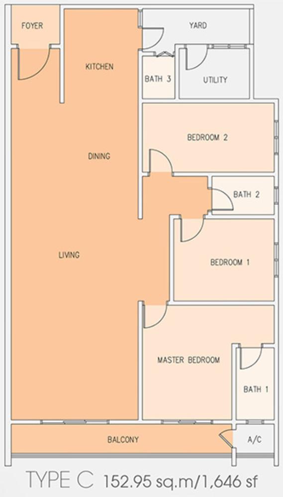 Setia Tri-Angle Condominium - Type C Floor Plan