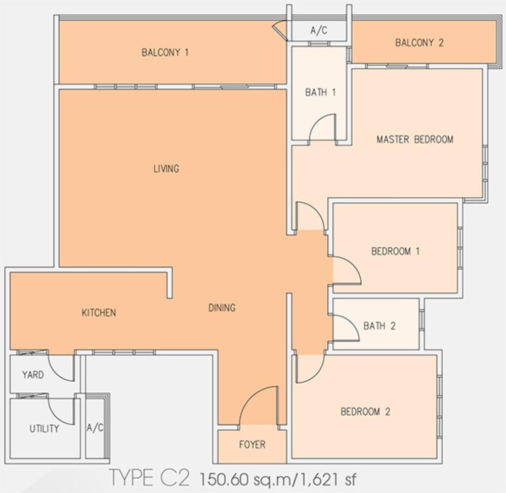 Setia Tri-Angle Condominium - Type C2 Floor Plan