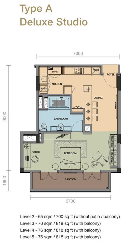The Rice Miller City Residences Type A Deluxe Studio Floor Plan