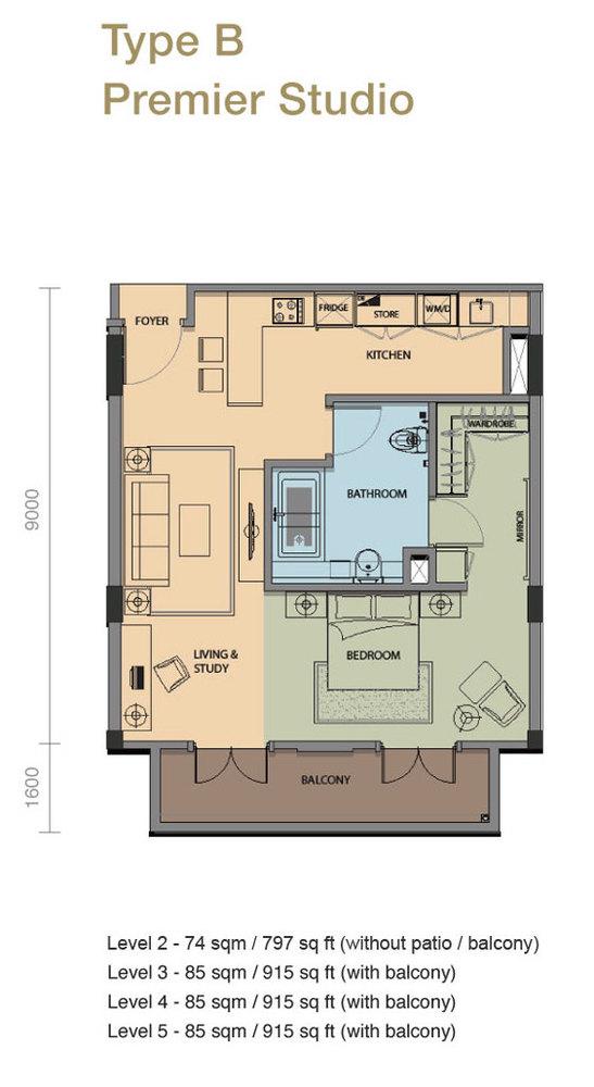 The Rice Miller City Residences Type B Premier Studio Floor Plan