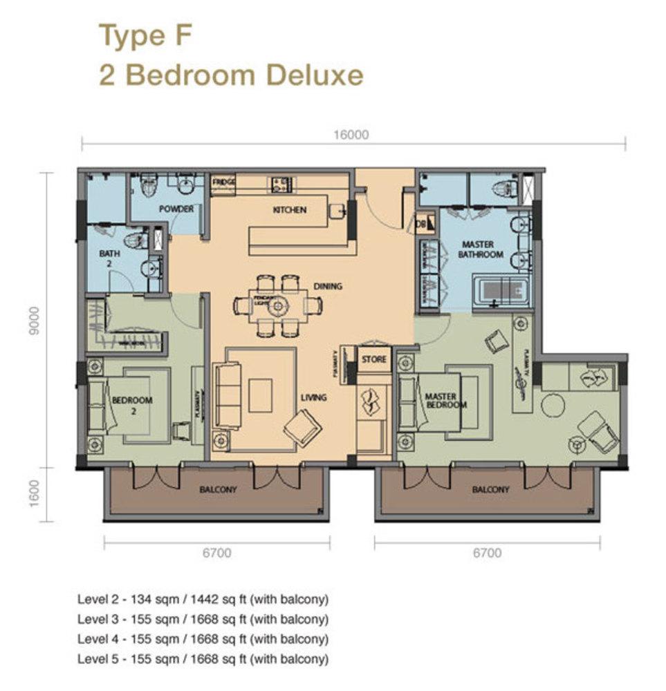 The Rice Miller City Residences Type F 2 Bedroom Deluxe Floor Plan