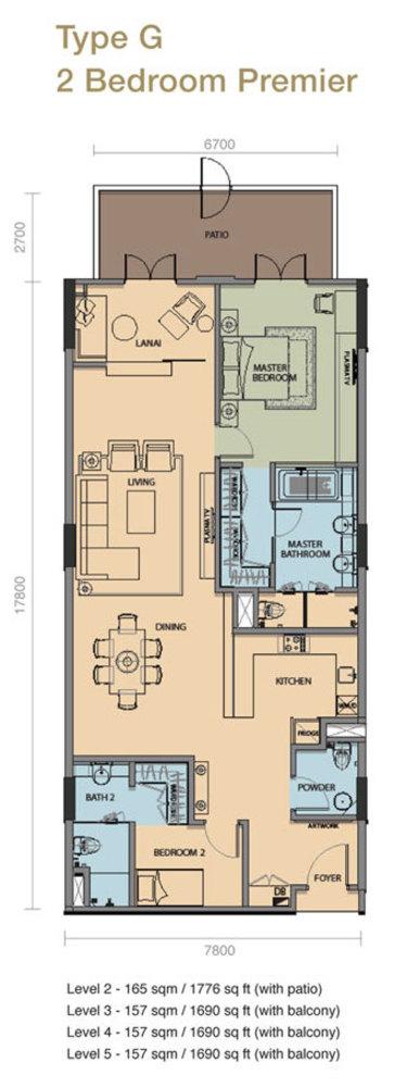 The Rice Miller City Residences Type G 2 Bedroom Premier Floor Plan