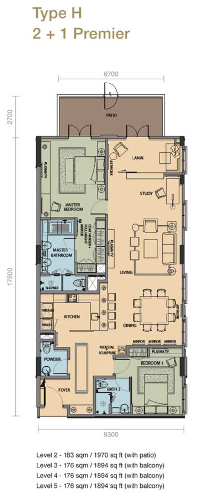 The Rice Miller City Residences Type H 2 + 1 Premier Floor Plan