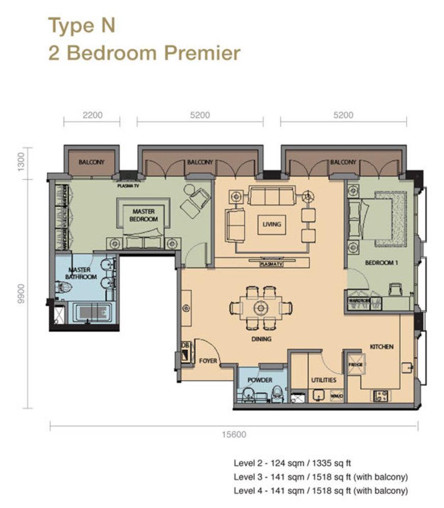 The Rice Miller City Residences Type N 2 Bedroom Premier Floor Plan