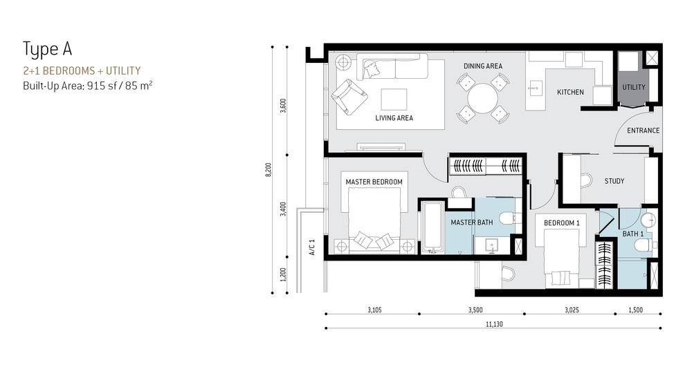 The RuMa Residences Type A Floor Plan
