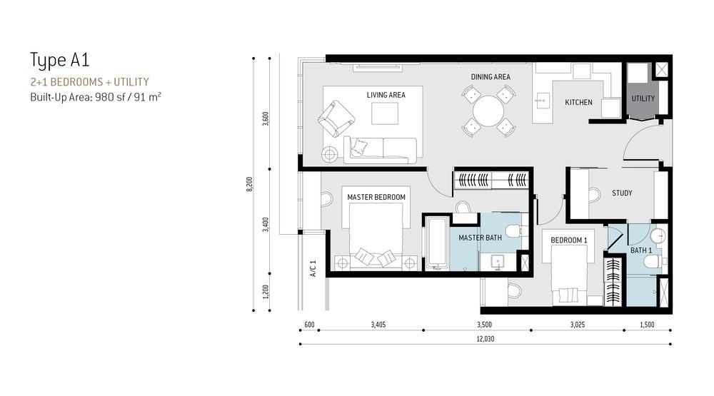 The RuMa Residences Type A1 Floor Plan
