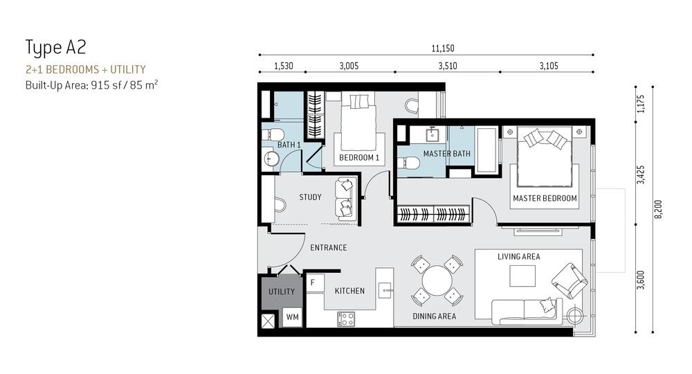 The RuMa Residences Type A2 Floor Plan