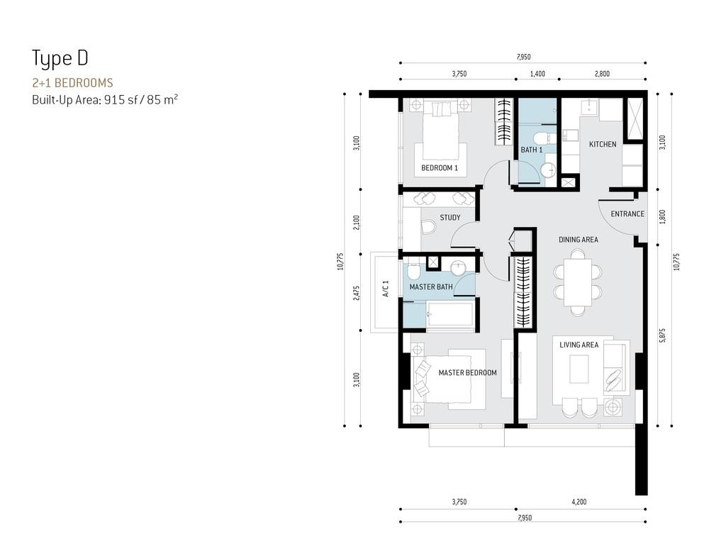 The RuMa Residences Type D Floor Plan