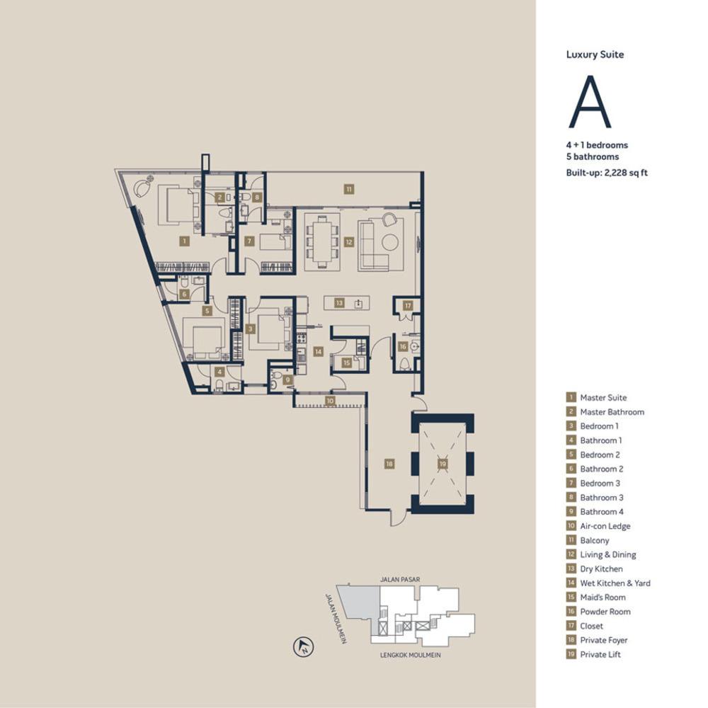 Moulmein Rise Luxury Suite A Floor Plan