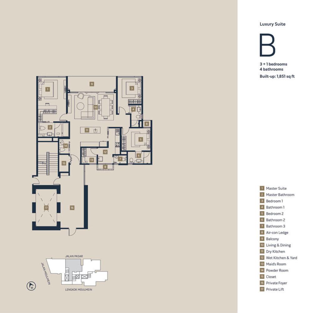 Moulmein Rise Luxury Suite B Floor Plan