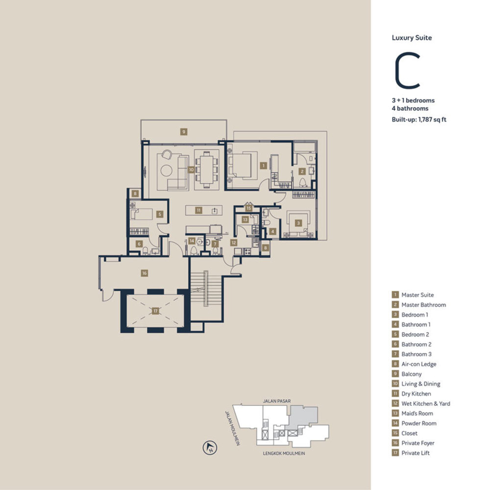 Moulmein Rise Luxury Suite C Floor Plan