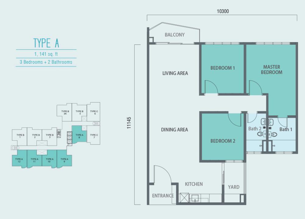 Aurora Residence @ Lake Side City Type A Floor Plan