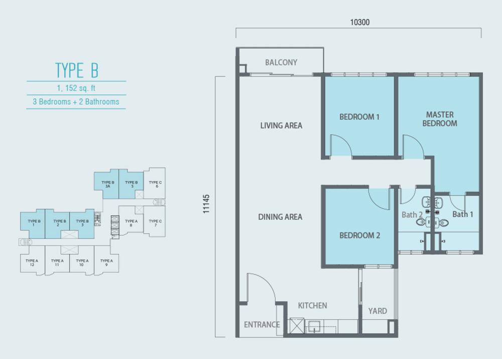 Aurora Residence @ Lake Side City Type B Floor Plan
