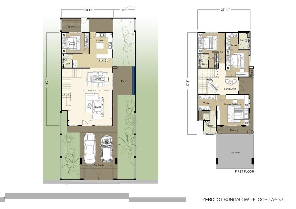 Tambun Royale City Royale Heights - Zero Lot Floor Plan