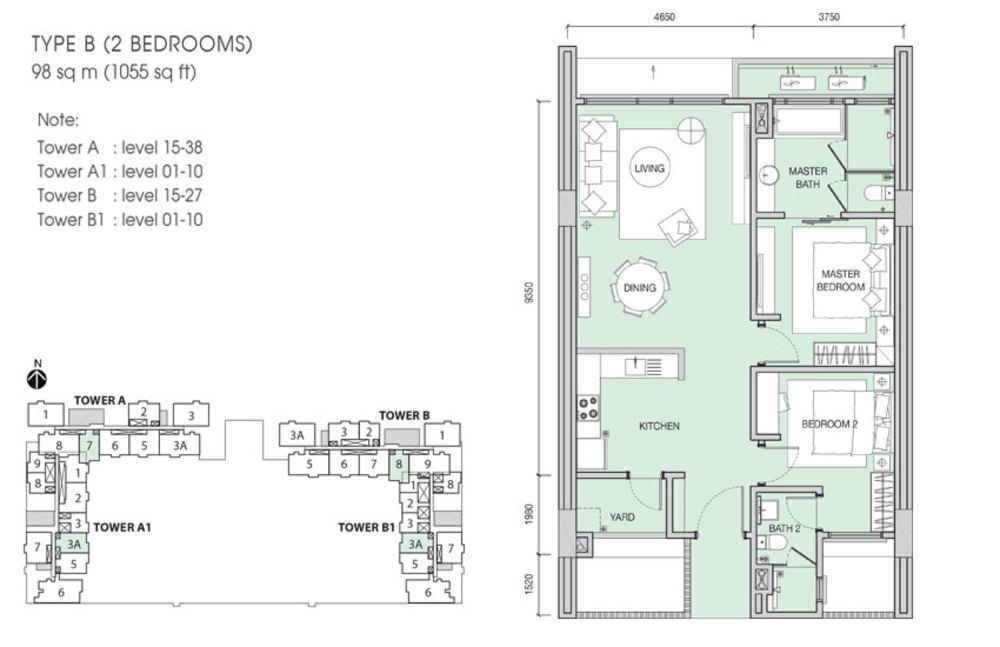 Iskandar Residences Type B Floor Plan