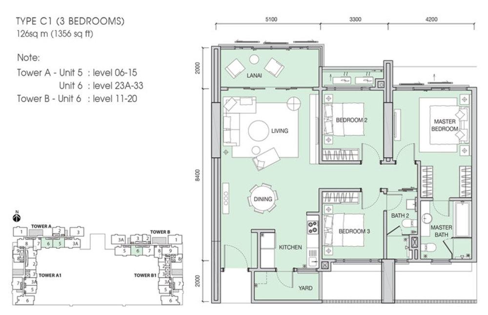 Iskandar Residences Type C1 Floor Plan